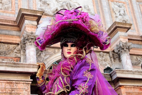 Masked purple lady at Venice Carnival
