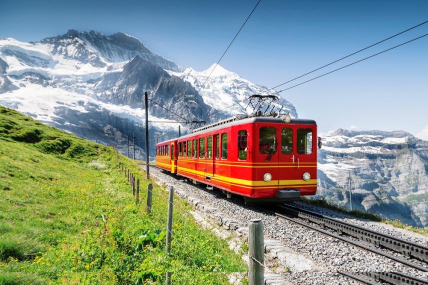 Jungfraujoch Railway with mountain - smaller sizw