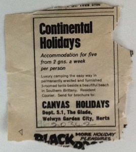 The original advert for Canvas Holidays which prompted the Boyd's to book