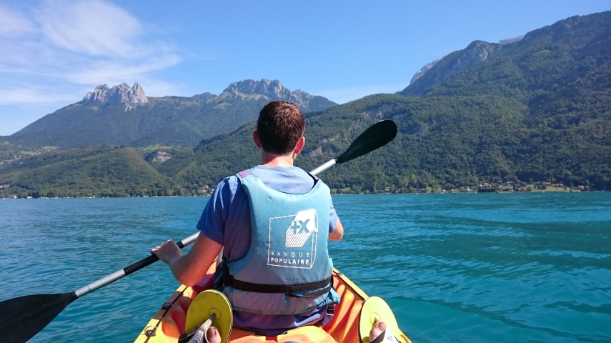 Paddling across Lake Annecy
